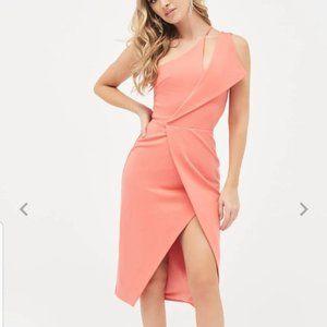 one shoulder midi wrap dress in papaya